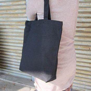 黑色帆布有底側背包